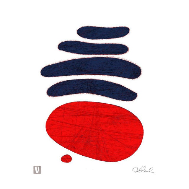 "Dark Blue Red. Giclee Print 9x12"" For Sale"