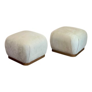 1980s Weiman Reupholstered Souffle Ottomans - a Pair For Sale