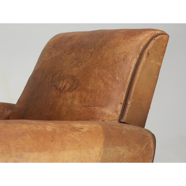 Brown French Art Deco Club Chair Carefully Restored For Sale - Image 8 of 13