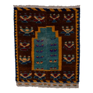 "Mid-Century Turkish Tulu Carpet With Connected Tribal Pattern 3'8"" X 4'2"" For Sale"