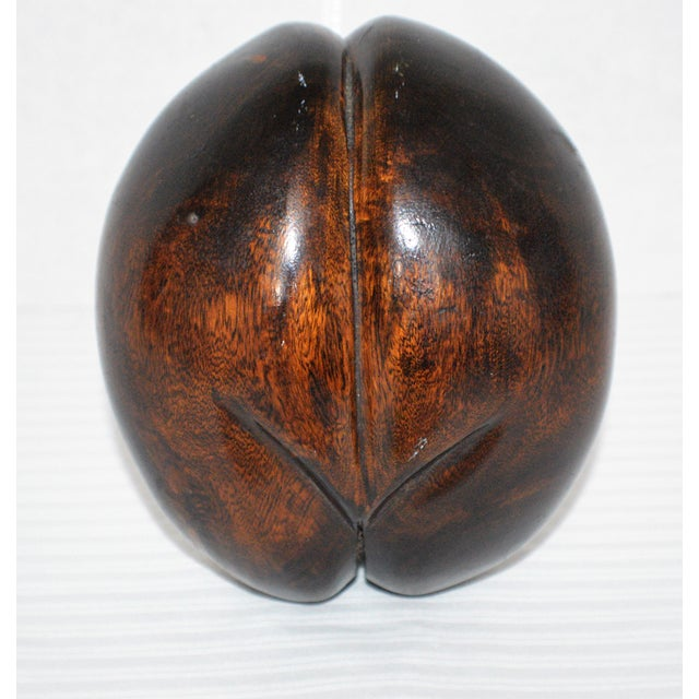 Faux Coco De Mer Double Coconut Seed Solid Wood Sculpture For Sale - Image 4 of 4