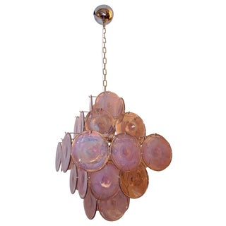 Vistosi 1970s Art Deco Iridescent Amethyst Murano Glass Round Disk Chandelier Preview