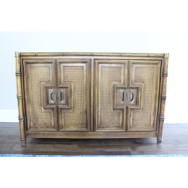 Stanley Mid Century Faux Bamboo Credenza - Image 4 of 11