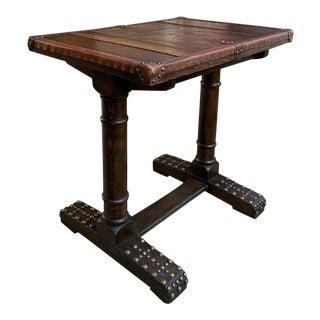 Antique English Oak Leather Table Desk Brass Trim Trestle Base C1910 For Sale
