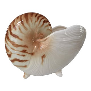 1970s Vintage Fitz and Floyd Nautilus Shell Planter-Made in Japan For Sale