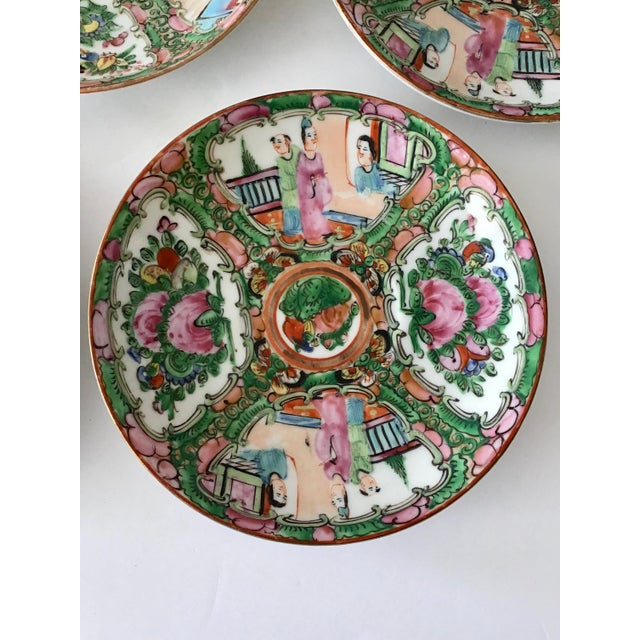 Chinese Rose Medallion Saucers - Set of 13 For Sale - Image 3 of 5