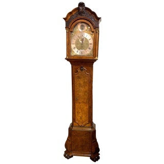 19th Century English Burl Walnut Inlaid Grandfather Clock For Sale