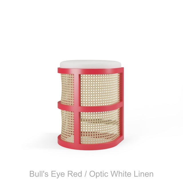 Not Yet Made - Made To Order Isabella Counter Stool - Bull's Eye Red, Optic White Linen For Sale - Image 5 of 5