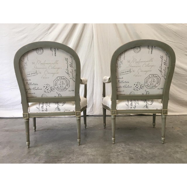 Mid 19th Century French Antique Painted Armchairs - a Pair For Sale - Image 5 of 13