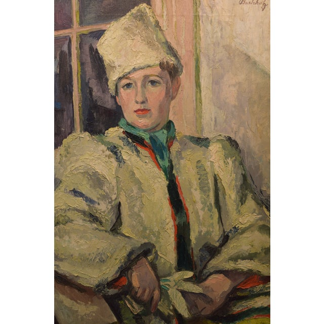Impressionist scene of figure in white fur coat, signed Frederick Buchholz. circa 1930's. Buchholz was a NYC and Lyme Ct...