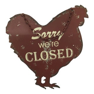 Vintage English Metal Chicken Shaped Open and Closed Sign
