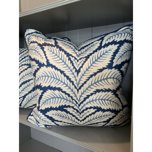 Contemporary Brunschwig & Fils Talavera Leaf Indigo Blue Pillow For Sale In New York - Image 6 of 6