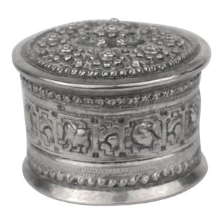 Highly Decorative Silver Toned Box For Sale