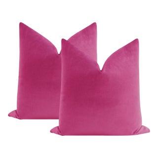 "22"" Cerise Contemporary Velvet Pillows - a Pair For Sale"