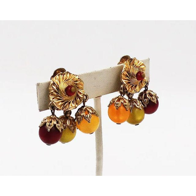 Mid-Century Modern Napier Red, Green & Yellow Moonglow Drops Earrings For Sale - Image 3 of 7