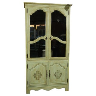 Green Painted Distressed Baker Armoire With Two Mirrored Glass Doors For Sale