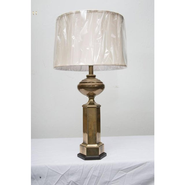 Stately Pair of Hexagonal Brass Lamps For Sale In West Palm - Image 6 of 6