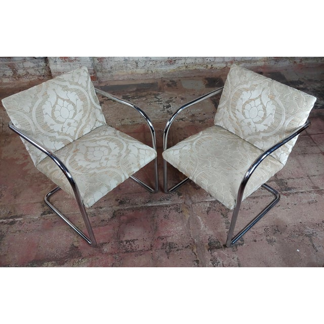 Mid-Century Modern Mies Van Der Rohe Vintage Chrome Arm Chairs - Set of 4 For Sale - Image 3 of 9
