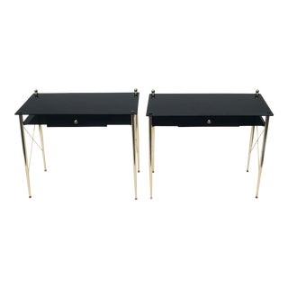 1960s Mid-Century Modern Jacques Adnet Opaline Consoles - a Pair For Sale