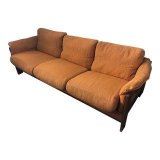 Mid Century Modern Danish Teak Low Profile Scandinavian 3 Seat Orange Sofa For Sale
