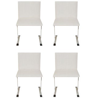 1960s Vintage Italian Saporiti Stainless Steel & Upholstered Dining Chairs- Set of 4 For Sale
