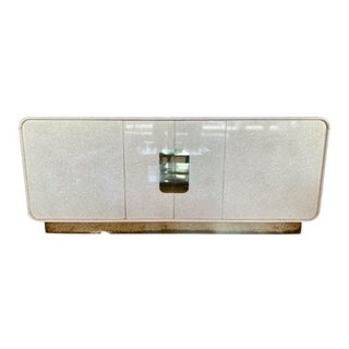 1970s Stone Veneer Credenza With Brass Base For Sale