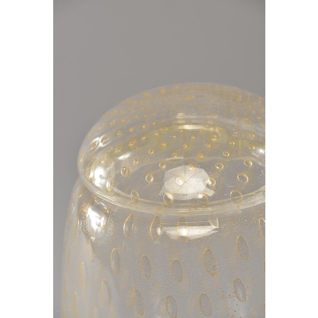 Gold Tall Murano Glass Lidded Vessel With Gold Inclusions For Sale - Image 8 of 9
