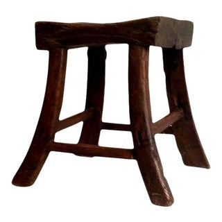 Mid 19th Century Vintage Saber-Leg Qing Dynasty Stool For Sale