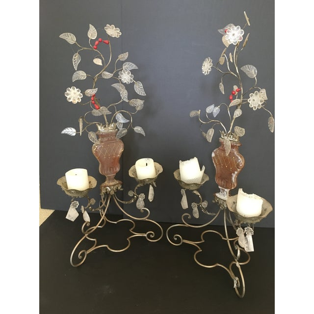 Unusual pair of painted metal and glass 2-lite candelabra with rock crystal pendants, beads and etched glass in very fine...