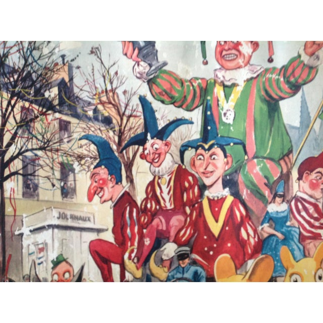 Illustration Vintage French School Poster of Carnaval. Chromolithograph For Sale - Image 3 of 6