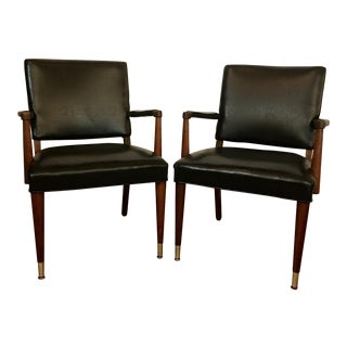 Mid-Century Modern Leatherette Arm Chairs