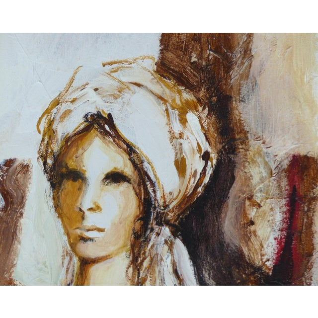 Metal Oil on Panel Board of a Seated Woman With Headscarf, Unsigned C1965 For Sale - Image 7 of 11
