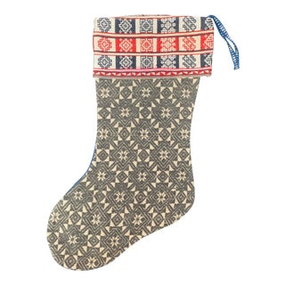 Antique Chinese Wedding Quilt Christmas Stocking For Sale
