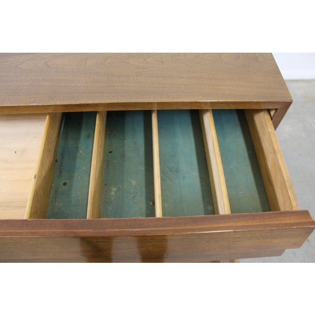Walnut Mid-Century Modern American of Martinsville Merton Gershun Louvre Bachelor Chest For Sale - Image 7 of 12