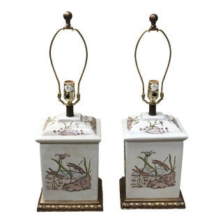 Vintage Currey and Company Botanical Porcelain and Brass Lamps - a Pair For Sale