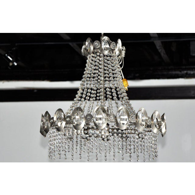 Rare Gaetano Sciolari Chrome and Beaded Crystal Chandelier - Image 2 of 3