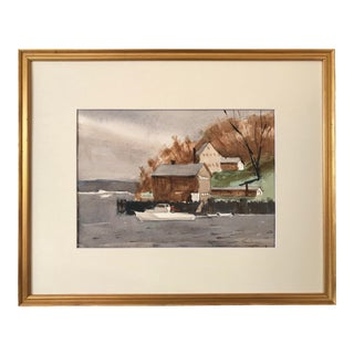 Vintage American Watercolor Long Island New York by Harry Barton For Sale