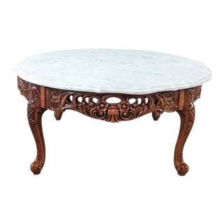 Marble Top Carved Wood Coffee Table