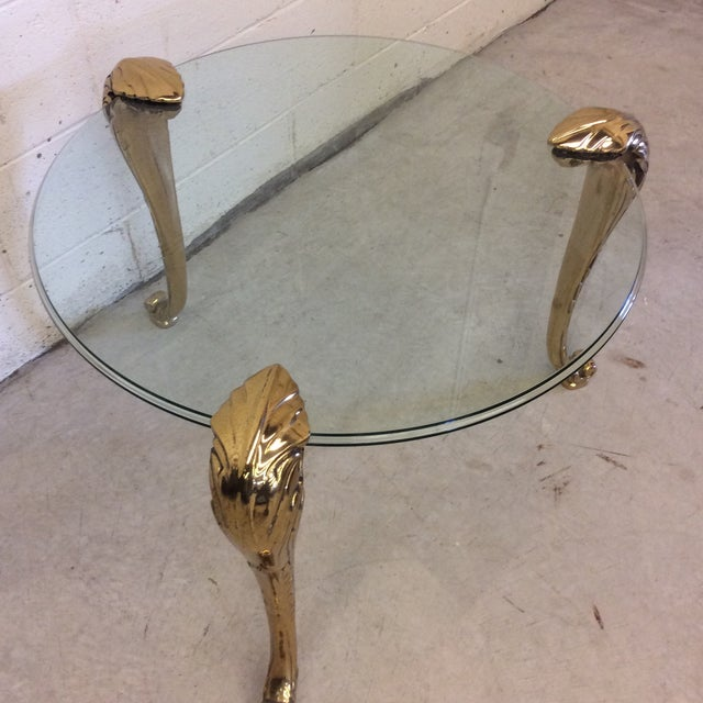 Brass Round Mastercraft Glass & Brass Side Table For Sale - Image 7 of 9