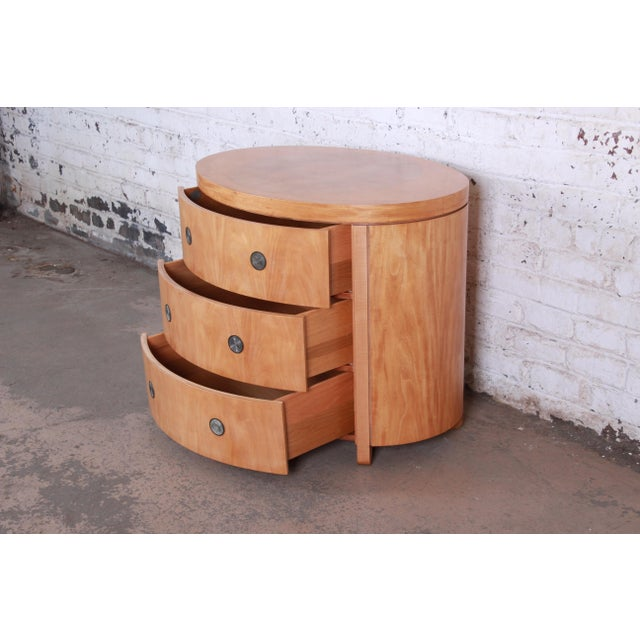 Charles Pfister for Baker Art Deco Primavera Three-Drawer Oval Commode Bachelor Chest For Sale In South Bend - Image 6 of 13