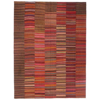 "20th Century Turkish Jajim Kilim Flat-Weave Rug - 8'9"" X 11'8"" For Sale"
