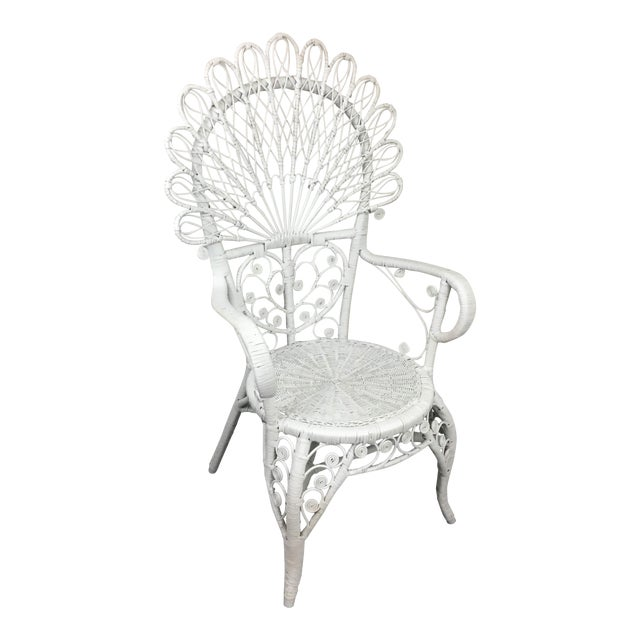 Early 20th Century Antique White Wicker Chair For Sale