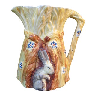 1930s Burleigh Ware Vintage Figural Bunny Rabbit Harvest Wheat Pitcher For Sale