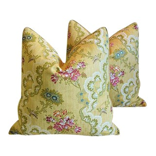 "Designer Italian Scalamandre Silk Lampas Feather/Down Pillows 24"" Square - a Pair For Sale"