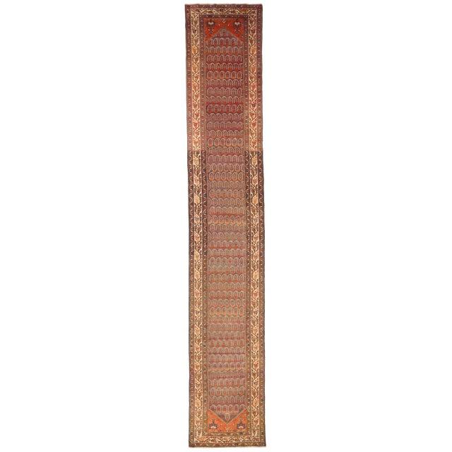 1920's Twin Antique Persian Rug Malayer Design Circa 1920's - 3′5″ × 19′8″ For Sale