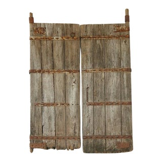 Pair of Large Antique Chinese Oak Gate Doors For Sale