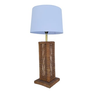 1970s Vintage Woven Rattan Table Lamp For Sale