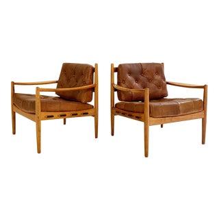 Ingemar Thillmark Lacko Buffalo Hide Lounge Chairs For Sale