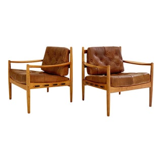 Ingemar Thillmark Lacko Buffalo Hide Lounge Chairs - a Pair For Sale