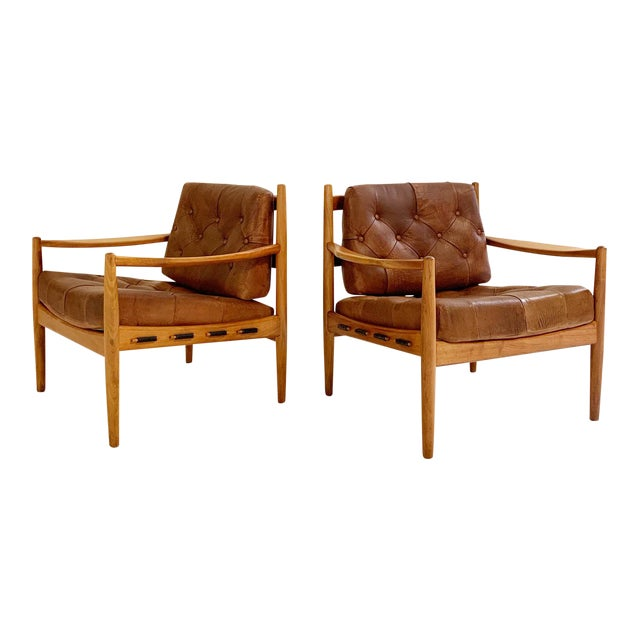 Ingemar Thillmark Lacko Buffalo Hide Lounge Chairs - a Pair For Sale
